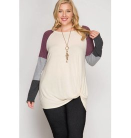 Better For It Color Block Sleeve Knit Top- Vanilla