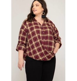 Falling Deeper Woven Twisted Plaid Top- Burgundy