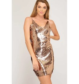 You Are Golden Sequin Cami Bodycon Dress- Bronze