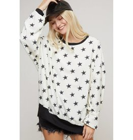 Far And Away Vintage Star Print Sweatshirt- Off White