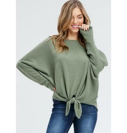 Sorry Not Sorry Solid Knit Tied Top - Olive
