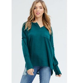 He Likes Me For Me Waffle Knit Top - Hunter Green