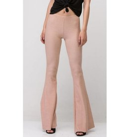 Perfect For The Party Ribbed Bell Bottom Pants- Apricot
