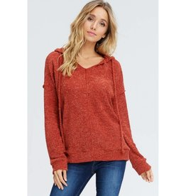 Half Of My Heart Solid Knit Hoodie Sweater - Rust