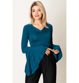 More Than A Trend Deep V Bell Sleeve Top- Teal