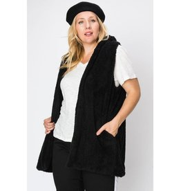 Home For The Holidays Faux Fur Vest- Black
