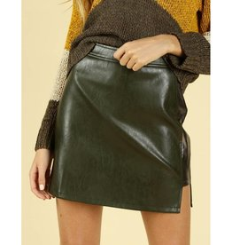 Talk The Talk Leather Skirt - Olive