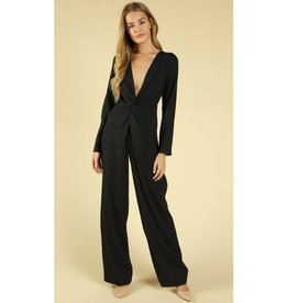 Get It Right Deep V Jumpsuit - Black
