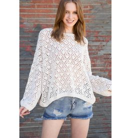 Want To Be Free Crochet Chenille Sweater- Almond