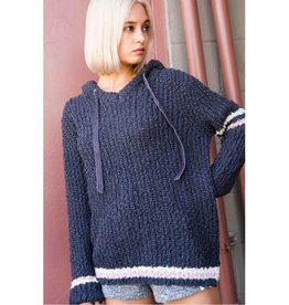 One More Minute Popcorn Knit Pullover-Charcoal