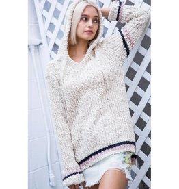 One More Minute Popcorn Knit Pullover-Cream