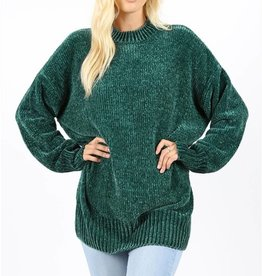 New Haven Over Sized Chenille Sweater- Hunter Green