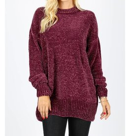 New Haven Over Sized Chenille Sweater- Plum