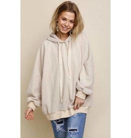 Break It Down Fuzzy Hooded Pullover Sweater - Cream