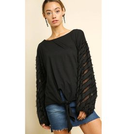Call It What It Is Long Puff Sleeve Top - Black