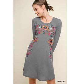 Best There Is Floral Embroidered Long Sleeve Waffle Knit Dress - Charcoal