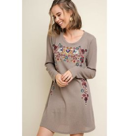 Best There Is Floral Embroidered Long Sleeve Waffle Knit Dress - Mocha