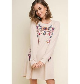 Best There Is Floral Embroidered Long Sleeve Waffle Knit Dress - Natural