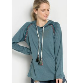 Sweeter Than Fiction Hooded French Terry Pullover- Teal