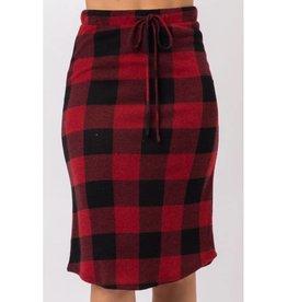 Day Dreaming Of Tomorrow Checker Plaid Knit Midi Skirt- Red/Black