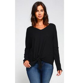 Make It Known Solid Knit Front Tie V-Neck Top- Black