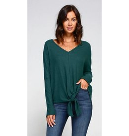Make It Known Solid Knit Front Tie V-Neck Top- Hunter Green