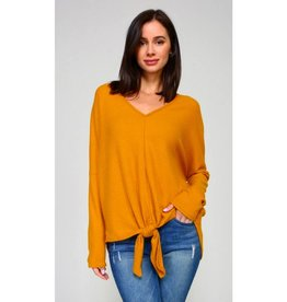 Make It Known Solid Knit Front Tie V-Neck Top- Mustard