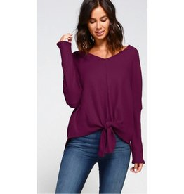 Make It Known Solid Knit Front Tie V-Neck Top- Plum