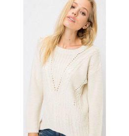 Work From Home Cable Knit Sweater- Vanilla