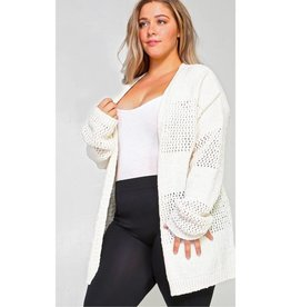 Drop On By Chenille Knit Cardigan- Ivory