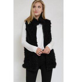 Hopeful Romantic Zip-Up Fur Vest- Black