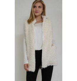 Hopeful Romantic Zip-Up Fur Vest- Ivory