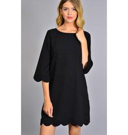 Keep Me Guessing Scalloped Hem Dress- Black