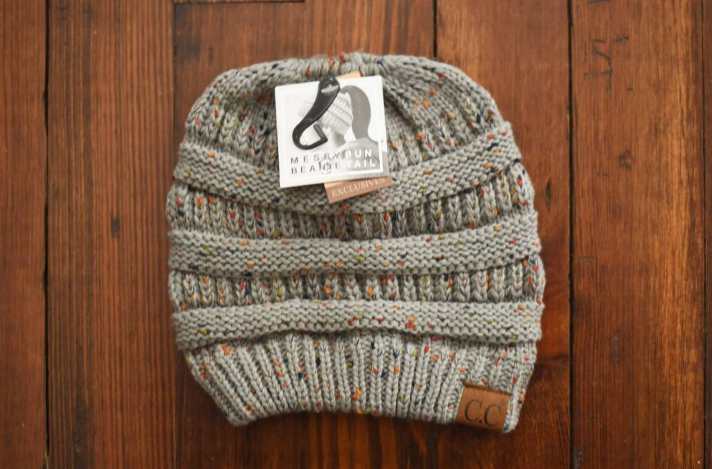 82bf3fb3e47 Hana C.C Confetti Ponytail Beanie Hat-Natural Grey - Cheeky Bliss
