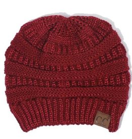 C.C Metallic Beanie Hat- Red
