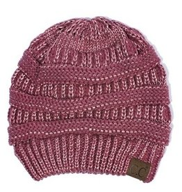 C.C Metallic Beanie Hat- Burgundy
