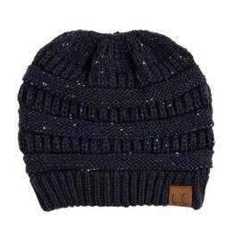 C.C Sequin Ponytail Beanie Hat- Navy