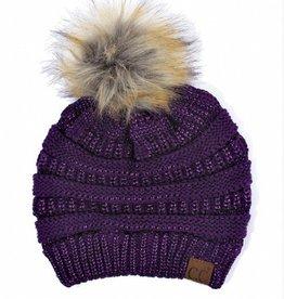 C.C Metallic Fur Pom Pom Beanie Hat- Purple