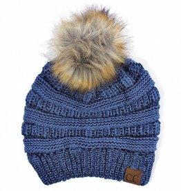 C.C Metallic Fur Pom Pom Beanie Hat- Dark Denim
