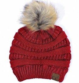 C.C Metallic Fur Pom Pom Beanie Hat- Red