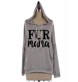 Fur Mama Dolman Graphic Hoodie- Heather Grey