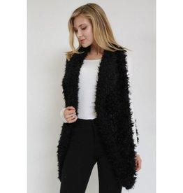 Always Be In Love Open Front Fur Vest- Black