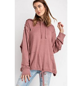 Feed Your Soul Knit Hoodie Pullover Top - Dried Rose