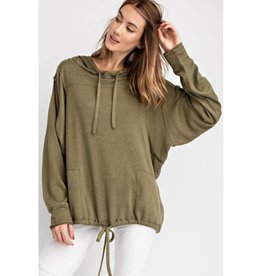 Feed Your Soul Knit Hoodie Pullover Top - Faded Olive