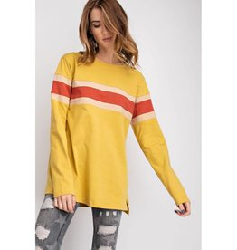 Give It A Rest Long Sleeve Color Blocked Boxy Top - Mustard