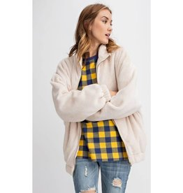 Zip To My Lou Faux Knit Oversized Jacket - Oatmeal