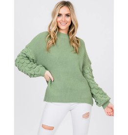 Already Knew About This Loose Bubble Sleeve Sweater - Ash Sage