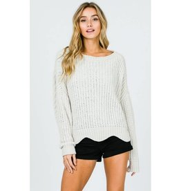 Totally Clueless Wavy Hemline Pullover Sweater - Ivory