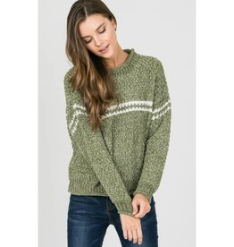 Don't Mention It Stripe Accent Chenille Pullover - Olive
