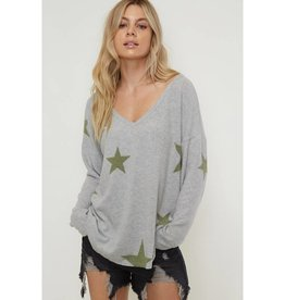 This Isn't That Star Print V Neck Sweater - Olive
